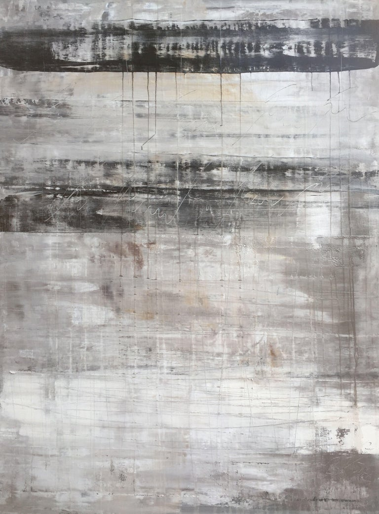 """Roger König Abstract Painting - """"1134 abstract antique black/white/grey"""", Painting, Acrylic on Canvas"""