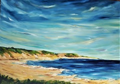 The big blue horizon & the golden sands of Summer, Painting, Oil on Canvas
