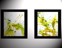 2 - Chaotic Crazy Lemon Lime Paintings 4172.4173, Painting, Watercolor on Paper