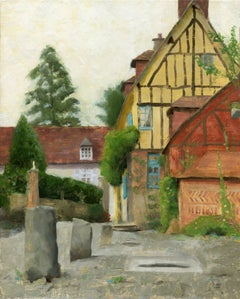 Gerberoy, Old French village of Roses. Framed, Painting, Oil on Canvas