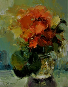Bowl Of Scarlet Flowers, Painting, Oil on Canvas