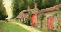 Idyllic country cottage landscape oil painting, Painting, Oil on Canvas