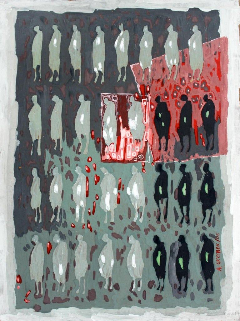 Aleksander Grzybek Abstract Drawing - Untitled - XXI Century, Gouache Painting, Abstract