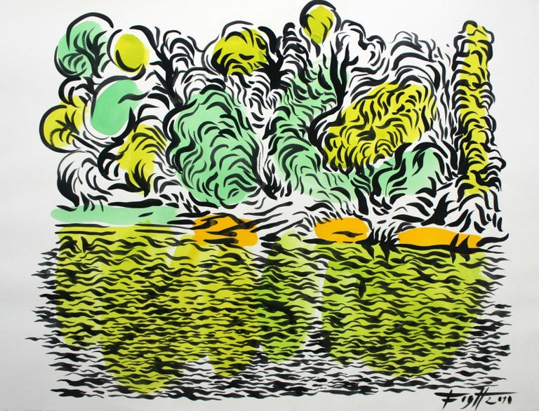 Andrzej Fogtt Abstract Drawing - Lake - XXI century, Colourful, Landscape