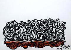 Landscape - XXI century, Black, white and orange, Abstract drawing