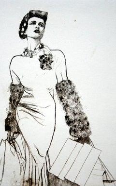 Shopping - XXI Century, Etching, Fashion Print, Women