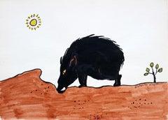 A boar - XX century, Cartoon, Figurative colourful drawing