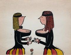 Untitled - XX century, Cartoon, Figurative colourful drawing