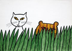 Cats - XX century, Cartoon, Figurative colourful drawing