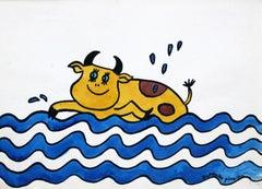 A cow - XX century, Cartoon, Figurative colourful drawing
