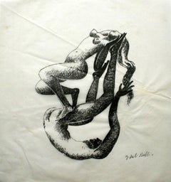 Together - XX century, Figurative drawing, Nude, Black and white