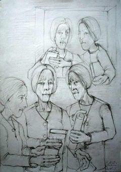 Women - a study - XXI century, Black and white figurative drawing