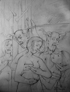 Nymphs and fauns - XXI century, Black and white figurative drawing