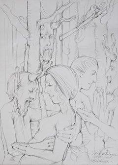 Mythological scene - XXI century, Black and white figurative drawing