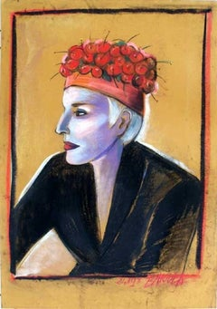 Kora - XX century, Pastel figurative portrait, Colourful, Pop culture