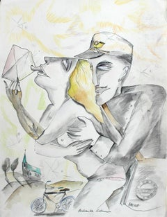 Postman's lover - XXI century, Watercolour figurative, Colourful