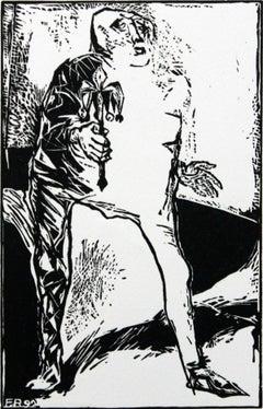 Jester - XXI century, Black and white print, Figurative