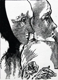 Two masks - XXI century, Black and white print, Figurative