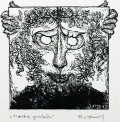 Gardener's mask- XXI century, Black and white print, Figurative
