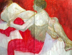 Untitled - XX century, Mixed media on paper, Figurative, Red, Nude