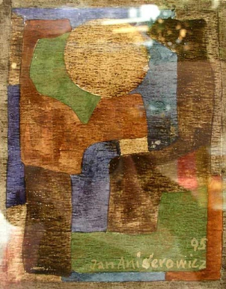 Jan Aniserowicz Abstract Drawing - Composition - XX century, Watercolour, Abstraction, Earth tones