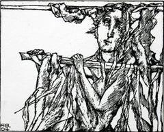 Ophelia - XXI century, Black and white print, Figurative, Shakespeare