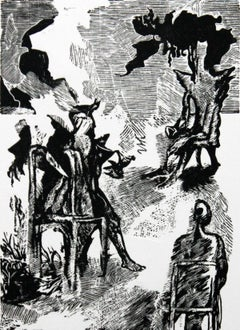 Mad men's dialogue - XX century, Black and white etching, Figurative