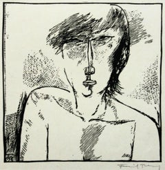 B's portrait - XXI century, Black and white etching