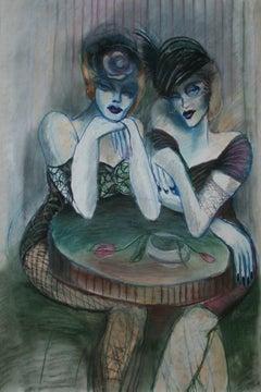 Women - Contemporary figurative, Pastel on paper, Colourful