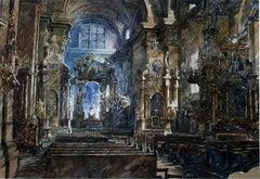 Untitled - Interior, Watercolour figurative, Church