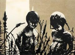 A meadow - XXI century, Black and white figurative