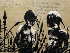 Untitled - XXI century, Black and white figurative, Mixed media print