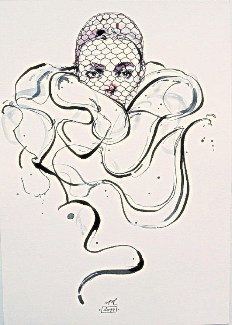 Anna Halarewicz Abstract Drawing - Giambattista Valli - XXI Century, Drawing, Fashion, Women