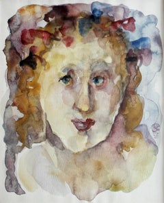 Spring - XXI century, Figurative watercolour portrait, Symbolic