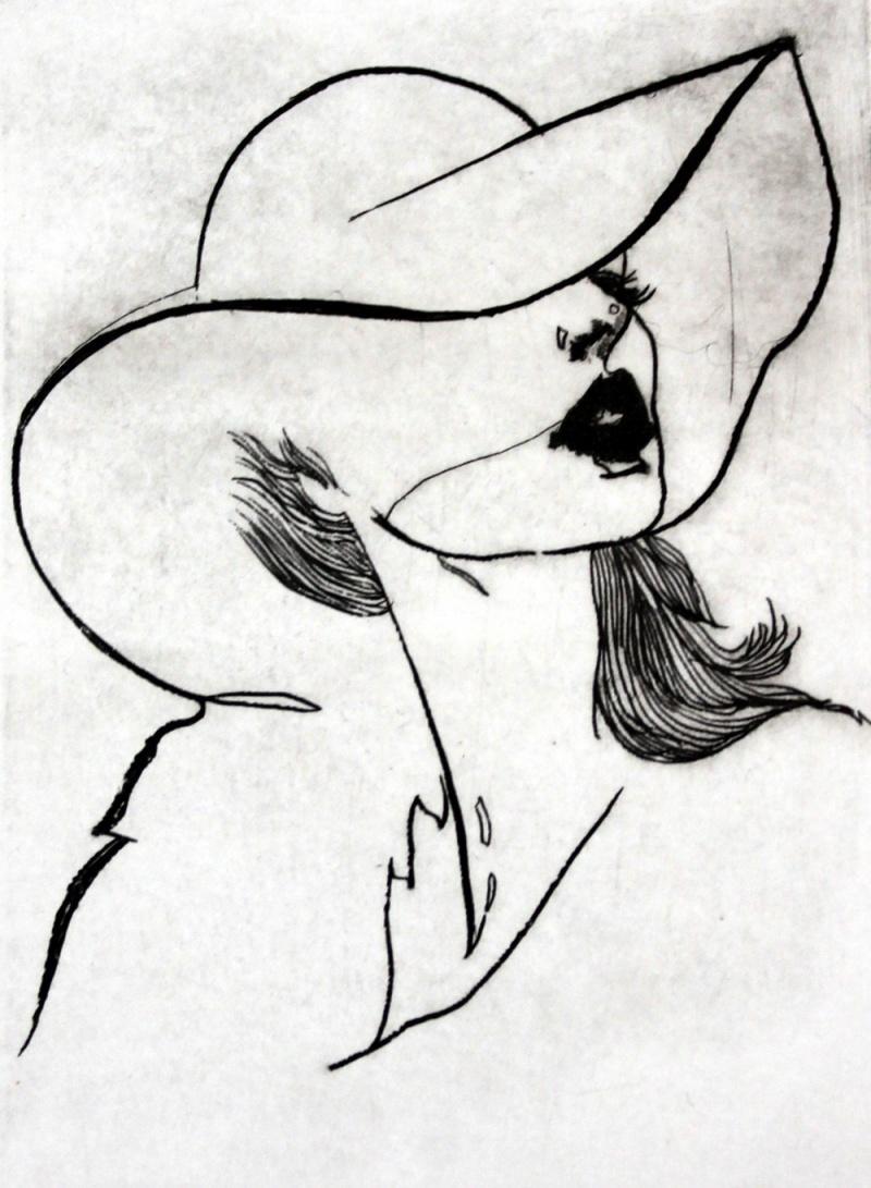 Selfportrait - XXI Century, Etching, Fashion Print, Women