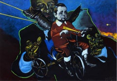 Save me, daddy - XXI century, Figurative painting, Dark and vivid colours