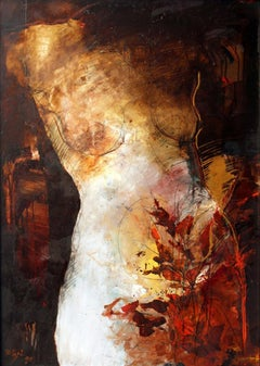 Tale about red - XX century, Oil painting, Nude