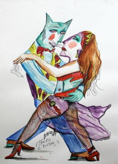 Tango with a redhead - XXI century, Watercolour figurative, Colourful