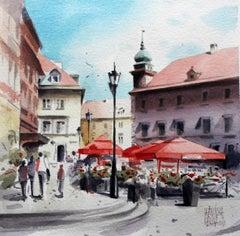 Warsaw - the Castle Square - XXI century, Watercolour figurative, Landscape