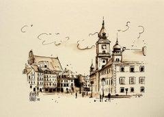 Warsaw - the Castle Square - XXI century, Watercolour figurative, Architecture