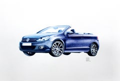 Volkswagen - XXI century, Watercolour figurative, Colourful, Cars and vehicles