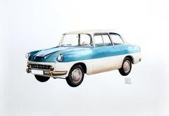 Skoda Karosa 1956 - XXI century, Watercolour figurative, Colourful, Cars