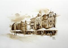 The Old Town Square in Poznań - Watercolour figurative, Architecture, Landscape