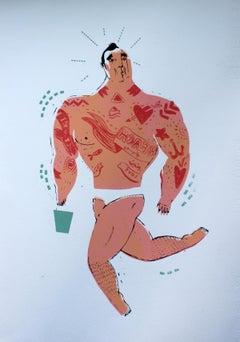 A bean - XXI century, Young artist, Colourful figurative print
