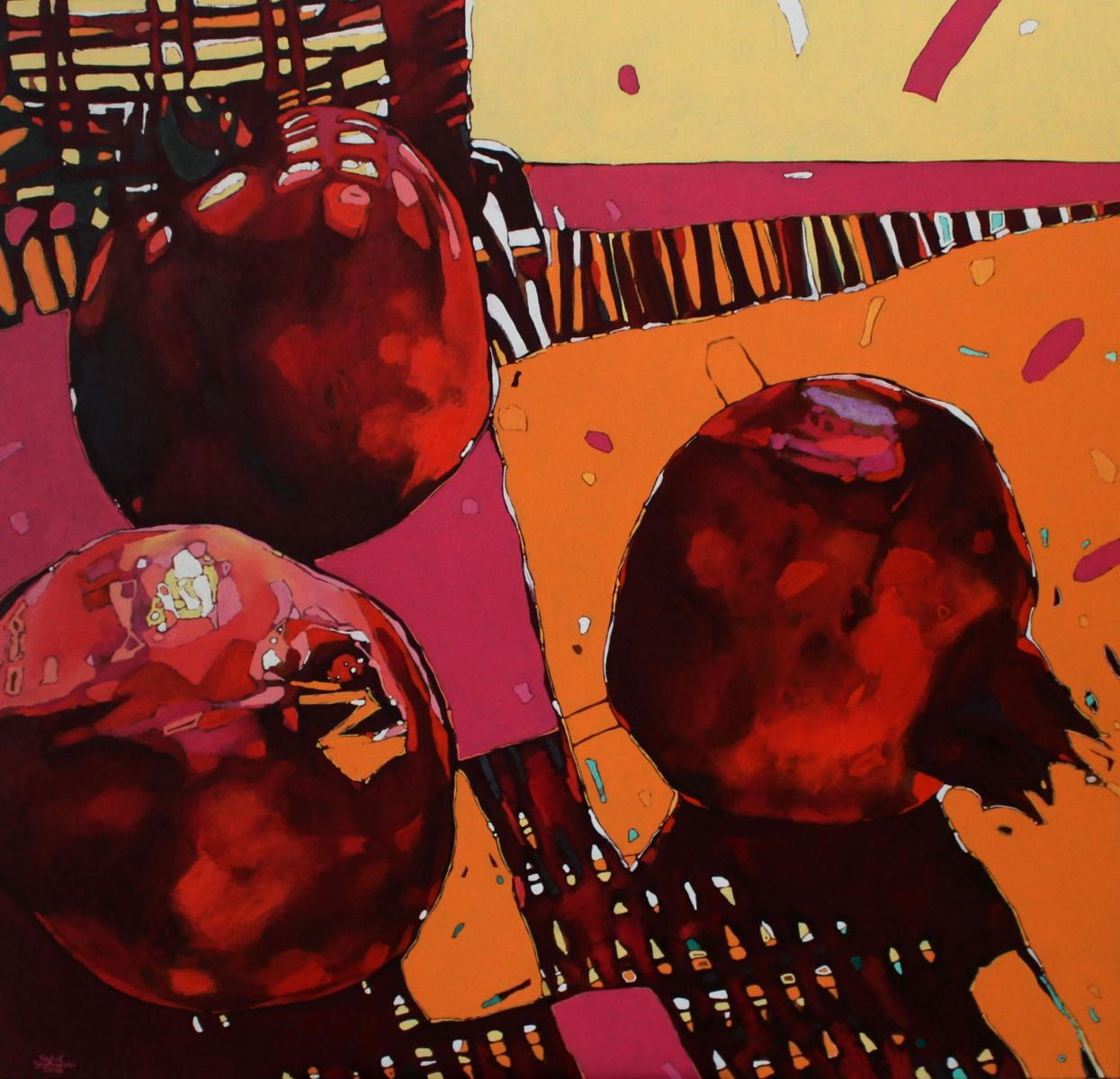 Pomegranates 08 - XXI Century, Oil painting, Contemporary Figurative, Fruits