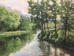 Country River by the Mill, Painting, Oil on Canvas