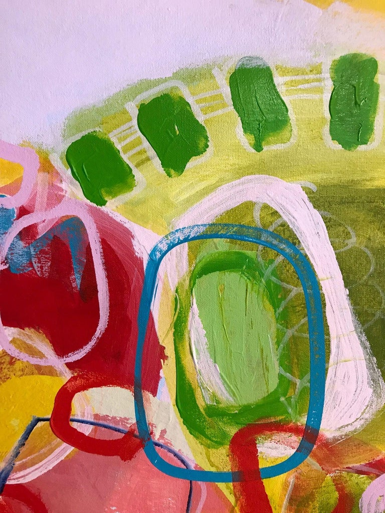 A vibrant yellow and several other shapes and lines in this intuitive acrylic on canvas.