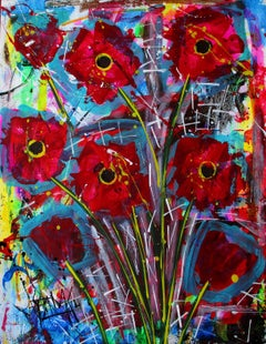 Art Poppies, Painting, Acrylic on Watercolor Paper