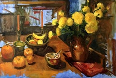 Yellow Marigolds, Bananas, Painting, Oil on Canvas