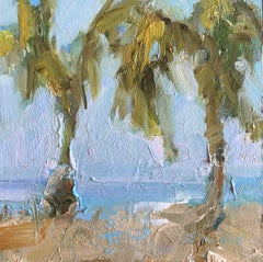 Pair of Palms, Painting, Oil on MDF Panel